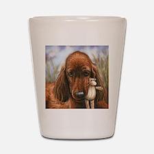 Irish Setter Pup by Dawn Secord Shot Glass