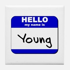 hello my name is young  Tile Coaster