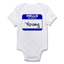 hello my name is young  Infant Bodysuit