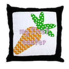 Bib - Girl - First Easter Throw Pillow