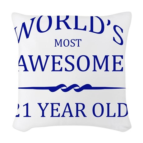 21 years old Woven Throw Pillow