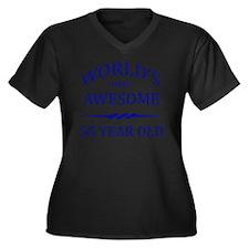 55 years old Women's Plus Size Dark V-Neck T-Shirt