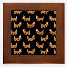 Cute Dachshund Cartoon Puppy Framed Tile