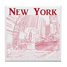 NewYork_10x10_DuffySquare_Red Tile Coaster