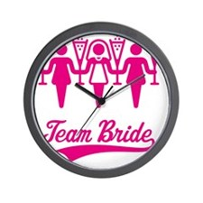 Team Bride (Bachelorette Party), magent Wall Clock