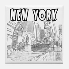 NewYork_12x12_DuffySquare_Black Tile Coaster