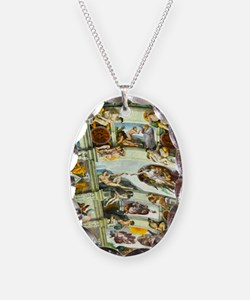 Sistine Chapel Ceiling 4X6 Necklace Oval Charm