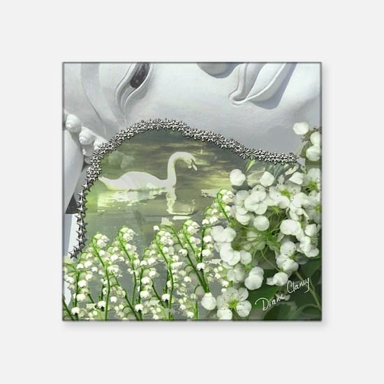 "In the Garden - Quan Yin Fl Square Sticker 3"" x 3"""