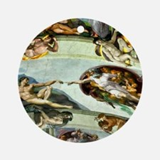 Sistine Chapel Ceiling 9X12 Round Ornament