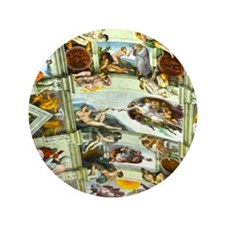 "Sistine Chapel Ceiling square 3.5"" Button"