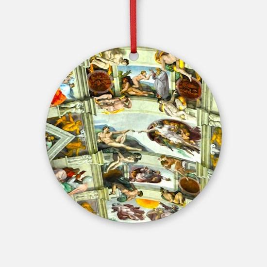 Sistine Chapel Ceiling square Round Ornament