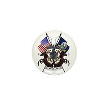 Navy Mustang Emblem Mini Button