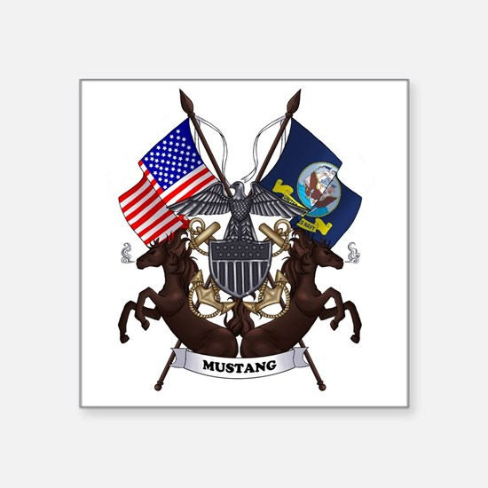 "Navy Mustang Emblem Square Sticker 3"" x 3"""