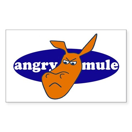 angry mule Sticker (Rectangle)