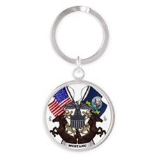 Mustang with Tails Round Keychain