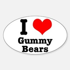 I Heart (Love) Gummy Bears Oval Decal
