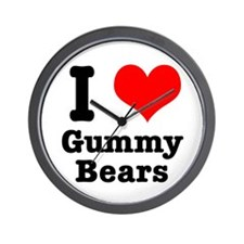 I Heart (Love) Gummy Bears Wall Clock