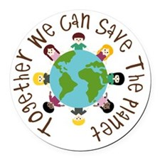 Together Save the Planet Round Car Magnet