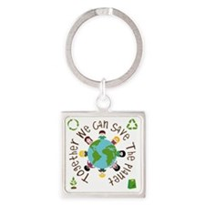 Together Save the Planet Square Keychain