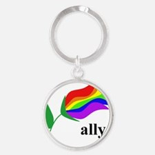ally flower on clear with black tex Round Keychain