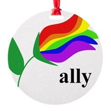 ally flower on clear with black tex Ornament