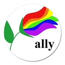 ally flower on clear with black t Round Car Magnet