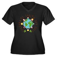 Celebrate Ea Women's Plus Size Dark V-Neck T-Shirt