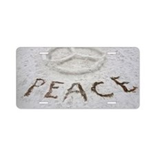 Peace Symbol Aluminum License Plate