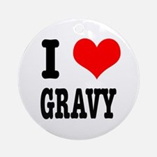 I Heart (Love) Gravy Ornament (Round)