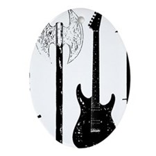 Guitar Bass Music Rock and Roll Conc Oval Ornament