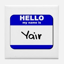 hello my name is yair  Tile Coaster