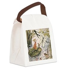 Vintage Woman Fairy Butterfly Canvas Lunch Bag