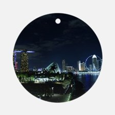 Singapore Skyline Round Ornament