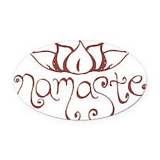 Namaste Lotus Flower Oval Car Magnet