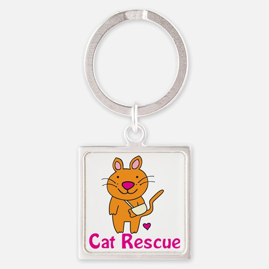 Cat Rescue Square Keychain