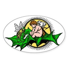 Bee and fairy sitting on leaf, old  Decal