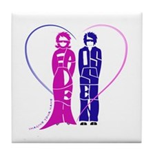 Sepideh and Hossein in blue and purple heart Tile