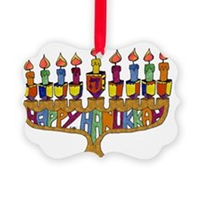 Happy Hanukkah Dreidel Menorah Ornament