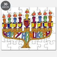 Happy Hanukkah Dreidel Menorah Puzzle