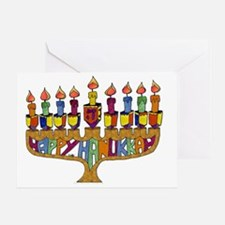 Happy Hanukkah Dreidel Menorah Greeting Card