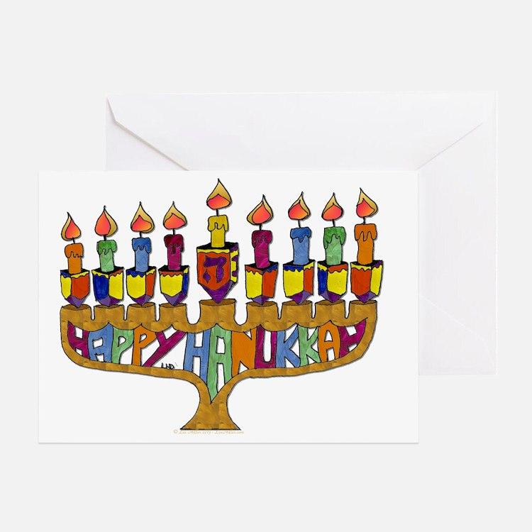 Happy Hanukkah Dreidel Menorah Greeting Card