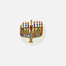 Happy Hanukkah Dreidel Menorah Mini Button