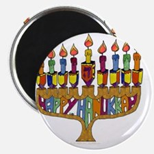 Happy Hanukkah Dreidel Menorah Magnet