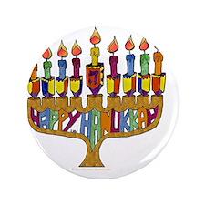 "Happy Hanukkah Dreidel Menorah 3.5"" Button"