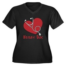 Heart Doc Women's Plus Size Dark V-Neck T-Shirt