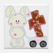 Bunny with a cross Tile Coaster