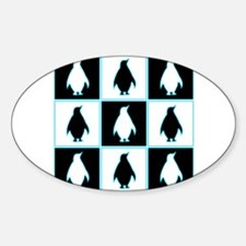 Penguin Pattern Oval Decal
