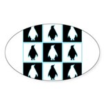 Penguin Pattern Oval Sticker