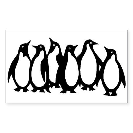 6 Penguins Rectangle Sticker
