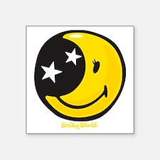 "Moon Smiley Square Sticker 3"" x 3"""